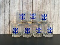 VTG 7 Blue Crown Anchor Royal Society Caribbean Cruise Line  Whiskey Glasses
