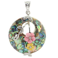 Genuine Flower Natural Tropical Abalone Shell Gemstone Silver Necklace Pendants