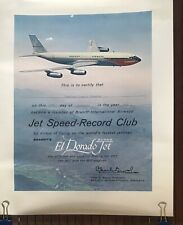 Certificate Issined By Braniff International For The Jet Speed Record Club