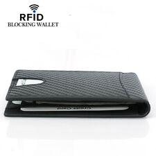 Men's Carbon Fiber Grain Billfold Wallet RFID Blocking ID Card Holder Money Clip