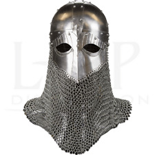18GA Steel Medieval Viking Helmet With Aventail Helmet And Chain Mail Gift BR51