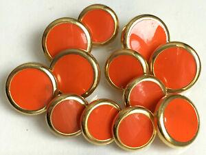 Lot de 16 boutons vintage - Plastique orange et doré 12 et 14 mm