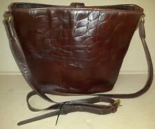 Mulberry crossbody bag vintage leather chocolate brown crocodile