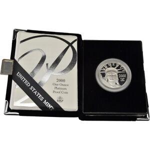 2000-W American Platinum Eagle Proof 1 oz $100 in OGP