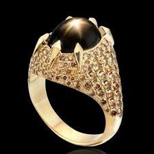 Black Sapphire Wedding Rings Sz 9 Elegant 18k Yellow Gold Plated Rings Women