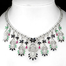 352.38 CT.MESMERIZING NATURAL BRAZIL EMERALD,RUBY,SAPPHIRE,925 SILVER NECKLACE