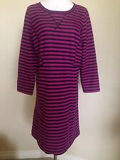 Marc By Marc Jacobs Magenta/Black Striped Long Sleeve Shift/ Sweater Dress Sz L