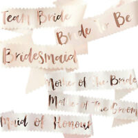 UK HEN PARTY SASHES ROSE GOLD BRIDE TO BE BRIDESMAID SASH HEN DO GIRLS NIGHT OUT