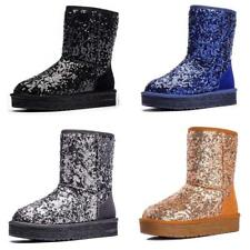 Women's Winter Snow Boots Shoes Warm Fur Lined Thicken Casual Sequins Flat Shoes