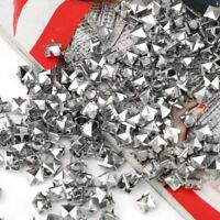 200pcs Pyramid Studs Rivets Spots Spikes 7mm Punk Leathercraft DIY Silver