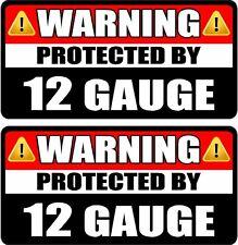 """2 - 3"""" 12 Gauge Shotgun Protected Decal SET Gun Protection Warning Sticker WS3"""