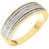 Diamond Wedding Band Men's 10K Yellow Gold 3 Row Round Cut Pave Ring 1/3 Tcw.