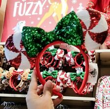 Disney Christmas 2019 Red White Swirl Peppermint Candy Cane Minnie Ears Headband