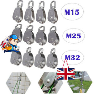 Swivel Single Wheel Pulley Block Rigging Lifting Rope Lifter Stainless Steel 4PC