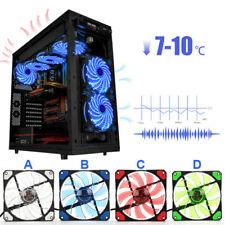 For Computer PC Clear Case Quad 4-LED Light CPU Cooling Fan 120mm 12cm Dazzle