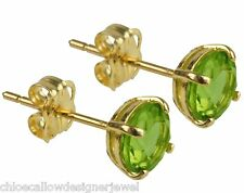 1x Pair of 9ct Yellow Gold 5mm Green Peridot Set Ear Studs Earrings + gift bag