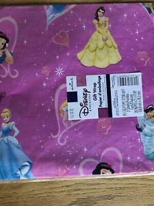 Vtg Hallmark Disney Princess Belle Jasmine Cinderella Ariel Wrapping Paper Pink