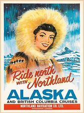 Alaska British Columbia Cruises Vintage Canada Travel Advertisement Poster