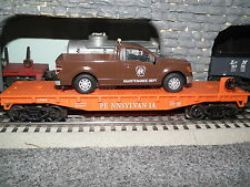 O Gauge Prr Flatcar With Diecast Penns'Y Rr Maint Dept Truck Lionel Mth Menards