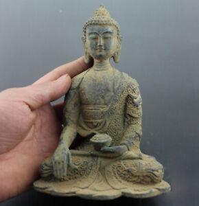 Brass Old Chinese Craft Tibet Buddhism Bronze Shakyamuni Amitabha Buddha Statue