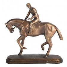 Bronze Racehorse w Jockey Figurine - Resin Approx 25cm High