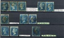 1854-58 2d Blu scarse GRUPPO piccolo + grande CORONA WMK incl. RR SG 35a CAT. £ 1930
