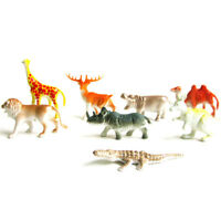 8x Plastic Zoo Animal Figure Tiger Leopard Hippo Giraffe Kids Animal Toys GifN_N