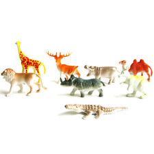 8PCS Plastic Zoo Animal Figure Tiger Leopard Hippo Giraffe Kids Animal ToyGiftBD