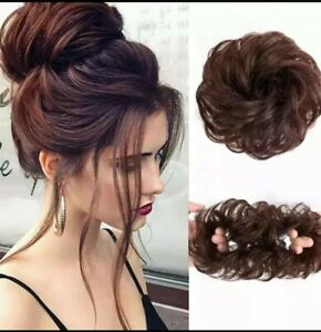 Real Natural Messy Rose Bun Wavy Scrunchie Hair Piece Extension Updo UK Seller