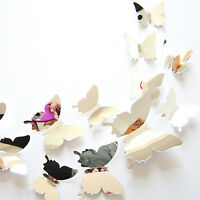 GN- 12 Pcs Mirror 3D Butterfly Wall Stickers Party Wedding Decor DIY Home Decora