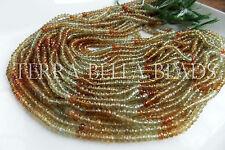 "13"" AAA GROSSULAR GARNET faceted rondelle gem stone beads 3.5mm - 4mm green"