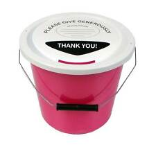 3 Charity Fundraising Money Collection Buckets with Lids, Labels and Ties - Pink