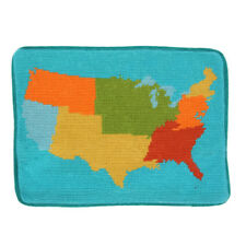 Jonathan Adler USA United States Map Needlepoint Throw Pillow Case