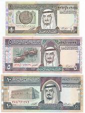 UNC 1984 SAUDI ARABIA 1 + 5 +10 RIYALS KING FAHD 3  RARE BANKNOTES (d)
