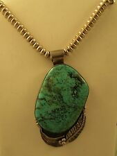 BEAUTIFUL  LARGE   VTG  TURQUOISE  PENDANT  BY  GEORGE  GUERRO  S.S.