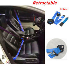 Blue Adjustable Retractable 3 Point Car Seat Belt Lap & Diagonal Belt Straps