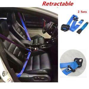 Blue Adjustable Retractable 3 Point Car Seat Belt Lap & Diagonal Belt Straps