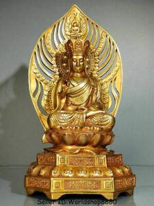 """14"""" Tibet Copper Gold Gilt Ksitigarbha Boddhisattva Netherworld Leader Statue"""