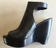 Prada Black Platform Wedge Vit Lisse Nero Shoes, Made In Italy, Sz 40