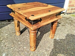 VINTAGE SOLID WOOD & METAL RUSTIC SQUARE SIDE / COFFEE TABLE