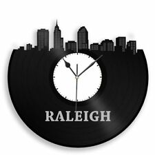 Raleigh NC Vinyl Wall Art Clock Cityscape Travel Souvenir Home Room Office Decor