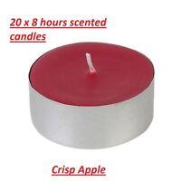 20 x Tealights Candles Crisp Apples Scented Wax Night Lights 8hours Festive, 2cm