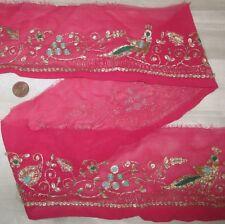 Vintage Antique Border Sari Trim Lace RARE OLD GOLD ZARI, FIGURES 2 ft #ABE75
