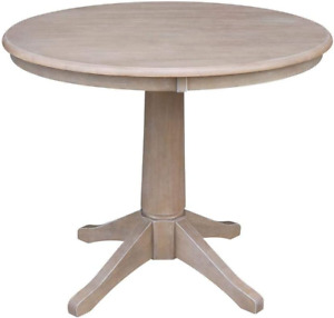 """International Concepts 36"""" Round Top Pedestal Table-28.9"""" H, Washed Gray Taupe"""