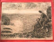 Dessin à la mine et plume femme marin fin 19ème début 20ème