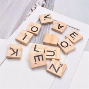 100 pcs Assorted Wood Pieces Rectangle Scrabble Letters Alphabet Tiles Art Decor