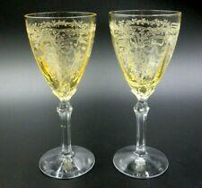 """SET OF 2 FOSTORIA """"JUNE"""" DELICATE AMBER OVER ENGRAVED CRYSTAL DESSERT GLASSES"""