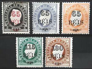 Cape Verde Stamp 1902 King Luiz Surcharged Lot of 5 Scott # 59//65 MINT OG H