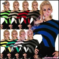 Sexy Women's Striped Jumper Ladies Batwings Pullover One Size 8,10,12,14 UK