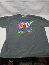 MTV T-shirt Tee Mens Large Washed Out Grey Viacom 100% Cotton Music Television